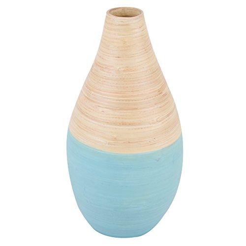 Dadeldo Vase Asia Design Bambus 32x16x16cm Tischdeko Gefäß (Natur Blau)