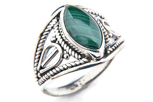 Ring Silber 925 Sterlingsilber Malachit grün Stein (Nr: MRI 70), Ringgröße:58