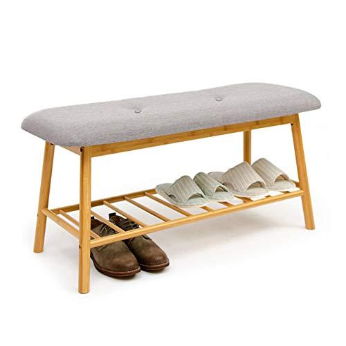 MOMIN Cambio de Taburete de Zapato Banco de Zapatos para Entrada, Pasillo, Dormitorio y Zapato de Bambú de Armario con Asiento Acolchado Estante de Zapatos (Color : Brown, Size : 84x30x45cm)