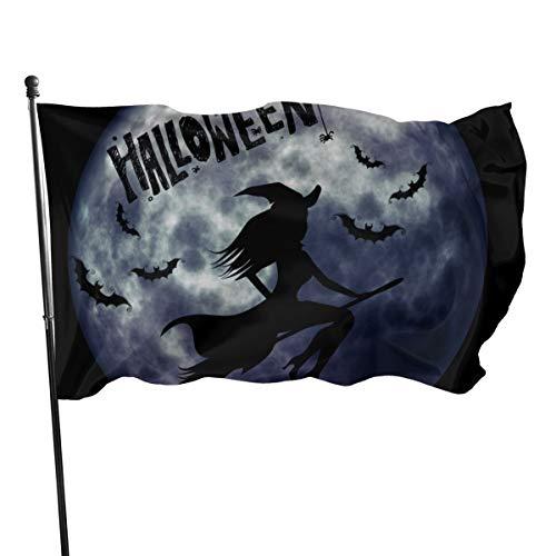 N/A Vlag 3x5 FtHalloween Heks Op Bezem, Enkelzijdige Tuinvlaggen voor Binnen Buiten Gebruik UV Beschermd