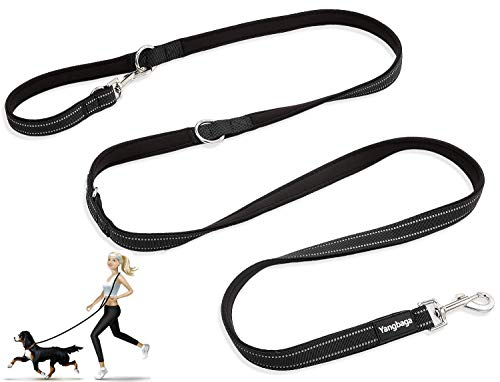 Yangbaga Hundeleine, Leine in Schwarz, 4-Fach Verstellbar, Hundefürleine, Doppelleine, Freestyle-Hundefürleine für Große und Kräftige Hunde, Für Zwei Hunde (216cm*2cm)