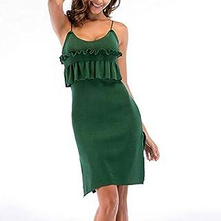 QGTDRESS Women Knitted Pleated Wooden Ear Strap Hem Open Fork Dress, Size: L(Gray) (Color : Dark Green)