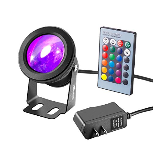RUICAIKUN LED Flood Light 10W Waterproof Outdoor US Plug RGB Light with Remote Control (DC/AC 12V),Above Ground LED Spotlights