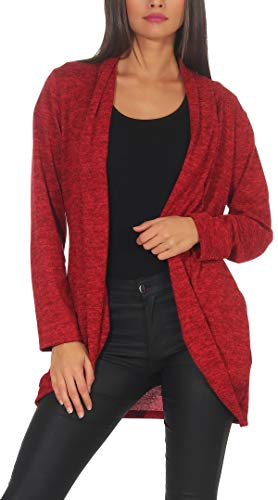 Malito Damen Strickjacke lang | Cardigan im eleganten Design | Angesagter Oversize Look - Weste - Jacke 5021 (rot)