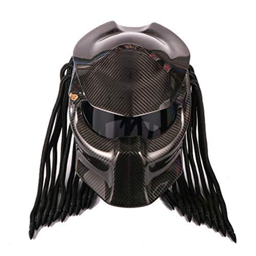 Wcx Motorrad Helm Predator Vollgesichtsmaske Kohlefaser Iron Man gefranste Zöpfe LED-Licht - inkl. ECE-Zulassung (größe : XL)