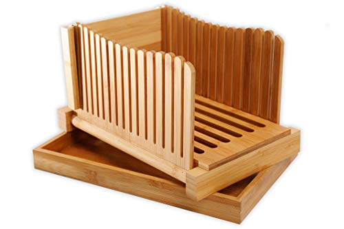 GloBamboo Bamboo Bread Slicer with Cutting Board For Homemade Bread, Adjustable, Compact, Foldable and Customizable Loaf/Cakes/Bagel Slicer, 3 Slice Sizes with Serving and Crumb Catcher Tray