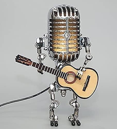 Lámpara de escritorio con diseño retro y linda lámpara de mesa, lámpara de pipa de guitarra retro, estilo vintage, micrófono con USB, decoración del hogar (color con bombilla)