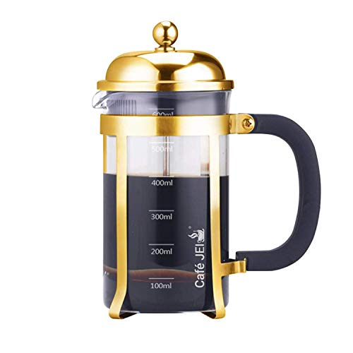 Cafe JEI French Press Coffee and Tea Maker 600ml with 4 Level Filtration System, Stainless Steel, Heat Resistant Borosilicate Glass (Gold, 600ml)