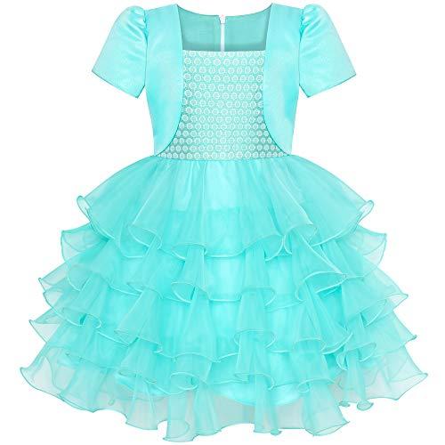 Sunboree Mädchen Kleid 2 in 1 Bolero Türkis Geburtstagsfeier Kleid Gr. 122