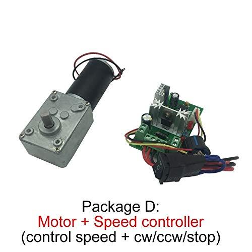 Motor eléctrico -Alto par D-eje 12v motor rotativo Tabla Puerta con mecanismo de bloqueo A58SW31ZY 7-470rpm DC 24v Worm Gear Motor Motorreductor ( Speed(RPM) : 24v 260rpm , Voltage(V) : Package A )