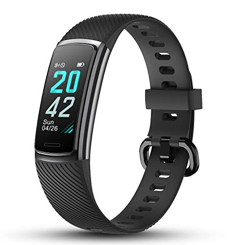 LETSCOM High-End Fitness Trackers HR, IP68 Waterproof Fitness Watch with Heart Rate Monitor, Step Counter, Sleep Monitor, Health Activity Tracker as Pedometer Watch for Women Men