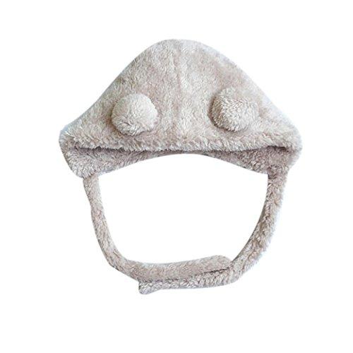 0- 6 Mois Fille / Garcon Bebe Naisance HIver Bonnet Laine Polaire Pompon Beanie Caxhe Oreille (Beige)