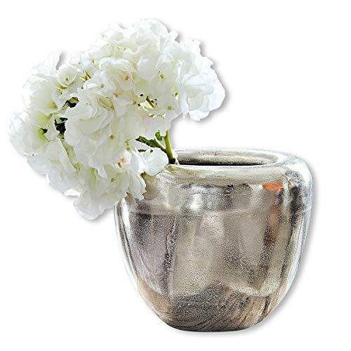 Loberon Vase Birs, Aluminiumguss, H/B/T/Ø ca. 22/26 / 21/16 cm, Füllmenge: 1000ml, Silber