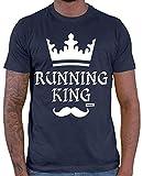 HARIZ Herren T-Shirt Running King Jogging Laufen Plus Geschenkkarte Navy Blau L