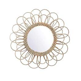 Maquillage Miroirs,Asseny Suspendu Miroir Rotin Tournesol Circulaire Miroir Mural Décor Boho Osier Coiffeuse Maquillage…