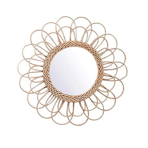 Maquillage Miroirs,Asseny Suspendu Miroir Rotin Tournesol Circulaire Miroir Mural Décor Boho Osier Coiffeuse Maquillage Miroirs