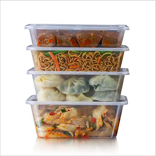 Plastic Food Containers Storage Lunch Sandwich Box Airtight Microwave Fridge Freezer Dishwasher Safe Container 100% BPA Free Best Storage Solutions by Cooke and Miller (25 x 650ml Clear)