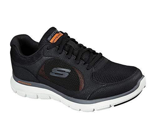 Skechers Flex Advantage 4.0-True Cla, Zapatillas Hombre, Negro (BLK Black Leather/PU/Mesh/Trim), 45 EU
