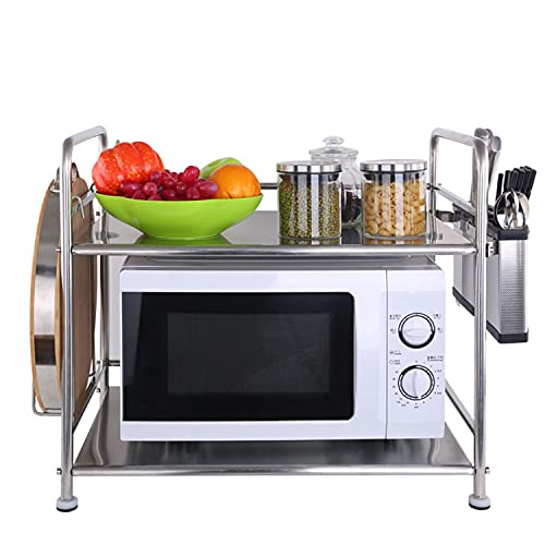 Kitchen Appliance Shelves,Double Floor Microwave Oven Rack Stainless Steel Multi-Function Kitchen Rack Kitchen Storage Bracket W600*D350*H520