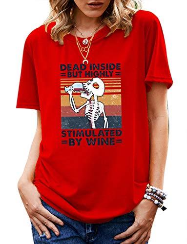 babao Camiseta Casual para Mujer Sudaderas con Calavera Camisetas Camiseta Suelta de Halloween