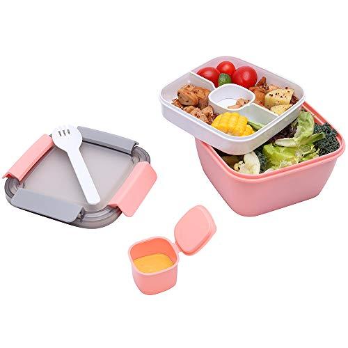 Merysen 1.1 Liter Salatbehälter mit Getrenntem Dressingtöpfe und Besteck, Auslaufsichere Salatschüssel to Go mit 2 Fächern für Salattoppings und Snacks, Rosa Salatbox aus Kunststoff