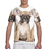 Camisetas de Manga Corta para Hombre Bulldog Francés Lindo Camiseta con Cuello Redondo
