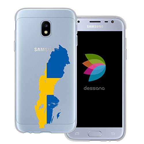 dessana Sverige transparent skyddsfodral mobiltelefon fodral fodral väska för Samsung Galaxy J3 (2017) Sverige karta
