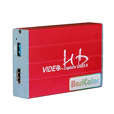 Basicolor Capture Card USB 3.0 Video Game Capture 1080p @ 60fps HDMI Game Live/HDMI Video