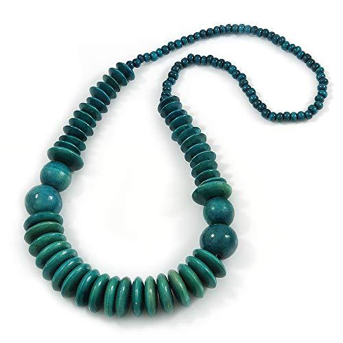 Avalaya - Collar de cuentas de madera de color verde azulado, 66 cm de largo