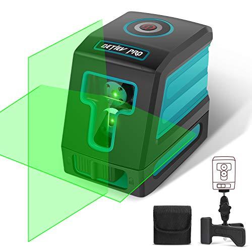DETLEV PRO Livella Laser Verde 30m Croce Autolivellante 3 Modalità, Orizzontale Verticale a 130 Gradi, 360 Gradi Rotante Supporto Regolabile Modulo Laser Doppio IP54 T02
