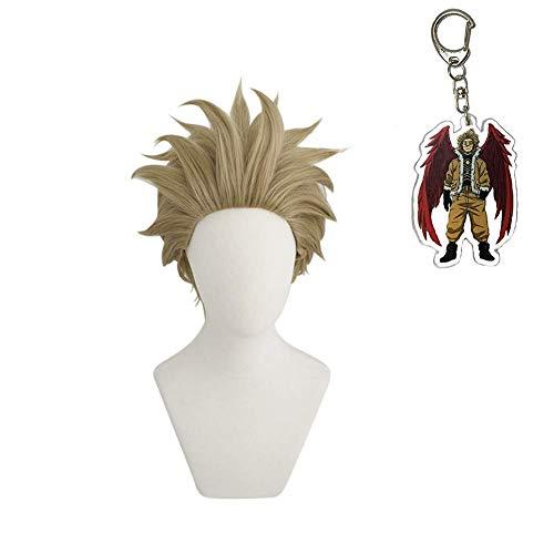 IPLD Keigo Takami Cosplay Wig+ A Keychain,Anime My Hero Academia Hawks Costume Short Hair