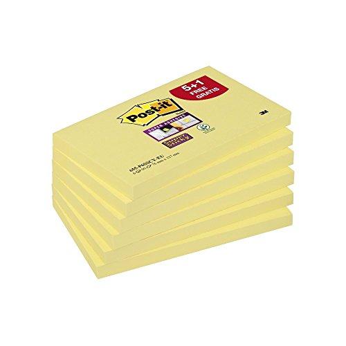 Post-it Super Sticky Foglietti Adesivi Rettangolari, Set di 6 Blocchetti Adesivi da 90 Foglietti Gialli, 6 Blocchetti Memo Adesivi, 540 Fogli Adesivi, Colore Giallo Canarino, Dimensione 76 x 127 mm