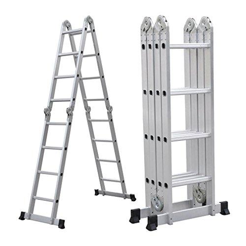 Blackpoolal 4 X 4 Multiusos Escalera Telescópica De - Escalera Extensible Escalera Aluminio Escalera De Aluminio Telescópica (De Aluminio 150 Kg Plata)