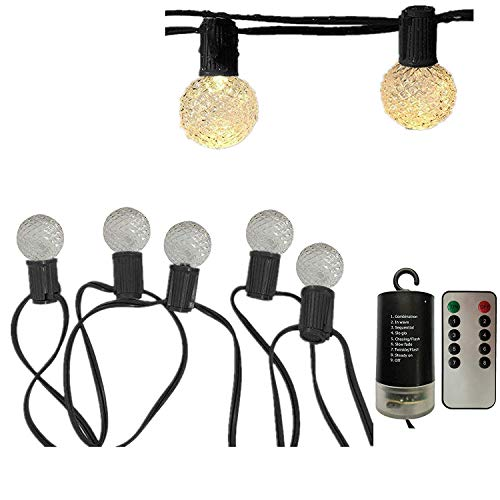 Battery Operated G40 Globe String Lights with Remote, 12 LED Plastic Bulbs Patio Outdoor String Lights, Full Waterproof Backyard Patio Lights for Garden Pergola Tents (8 Modes, Timer, Warm White)