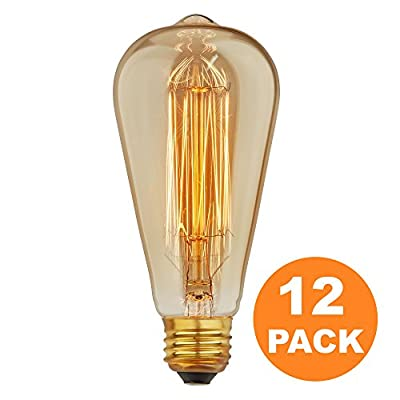 [12 Pack] Vintage Edison Bulbs with Squirrel Cage Filament, 60W Dimmable E26/E27 ST64 Tear Drop Antique Light, Golden Finish Industrial Design Amber Warm 120V