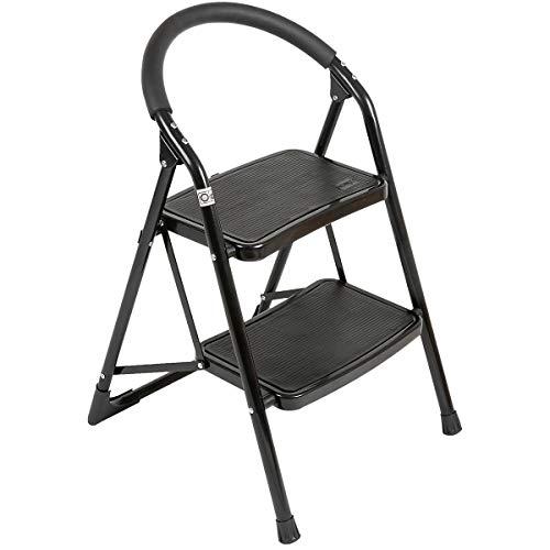 newpo Trittleiter | 2 Stufen | 150 kg Traglast | Schwarz | Stehleiter Haushaltsleiter Klappleiter Klappstufen Klapptritt