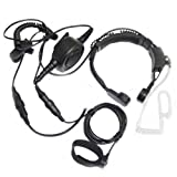 Tactical Military Throat Mic Headset with Finger Ptt Compatible for Midland LXT630VP3 LXT600VP3 LXT500VP3 GXT1000VP4 GXT1050VP4 GXT1030VP4 T71VP3 Two Way Radio 2-pin
