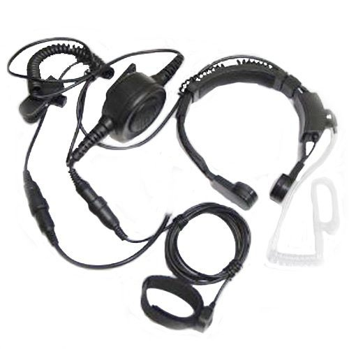 Tactical Military Throat Mic Headset with Finger Ptt Compatible for Midland...