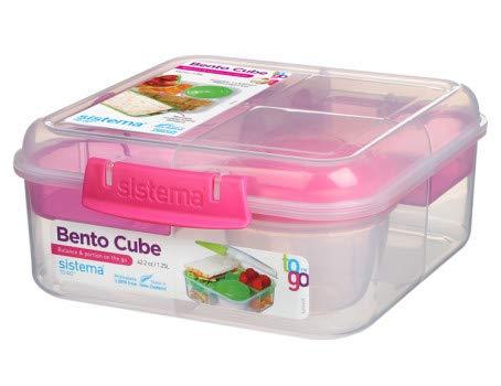 Sistema Caja de almuerzo con 5 compartimentos extra grandes, 1250 ml, incluye vaso con tapa de rosca, 17,5 x 17,5 x 8 cm (ancho x profundidad x altura), color rosa