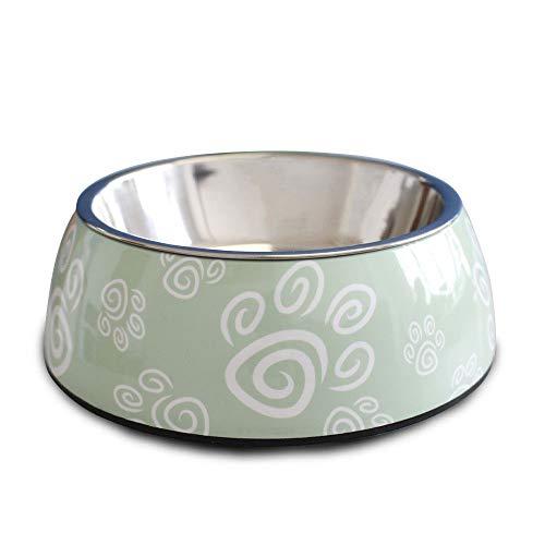 Comedouro para cães e gatos em inox e melamina Melanox Pet Flex 400ml Verde