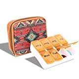 Pill Box for Purse Weekly Pill Organizer Montana West Seven Day Travel Pill Case Zip Lock Medicine Case for Vitamin, Supplements and Medication CW-MW977-193 BR