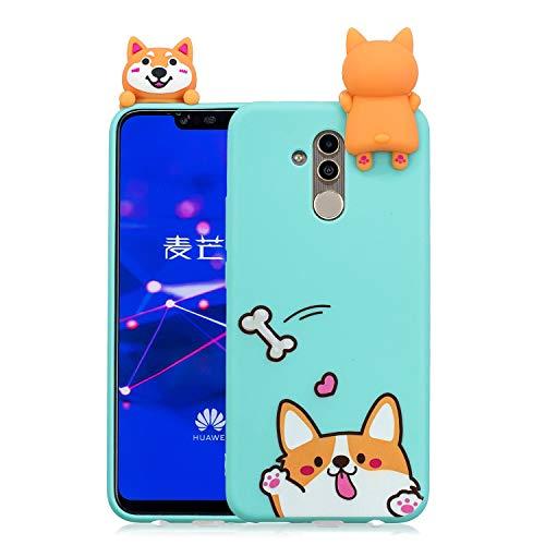 HopMore Funda para Huawei Mate 20 Lite Silicona Motivo 3D Divertidas Unicornio Panda Bonita TPU Gel Ultrafina Slim Case Antigolpes Cover Protección Carcasa Dibujo Gracioso - Perro
