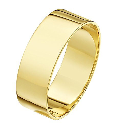 Theia Unisex Heavy Flat Shape Polished 18 ct Yellow Gold 7 mm Wedding Ring - Size Y