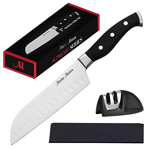 7 Professional Santoku Knife Set  Master Maison Premium German Stainless Steel Kitchen Knife Set With Dual Sharpener Edge Guard  Ergonomic Triple-Riveted Handle 7 Santoku Knife Black