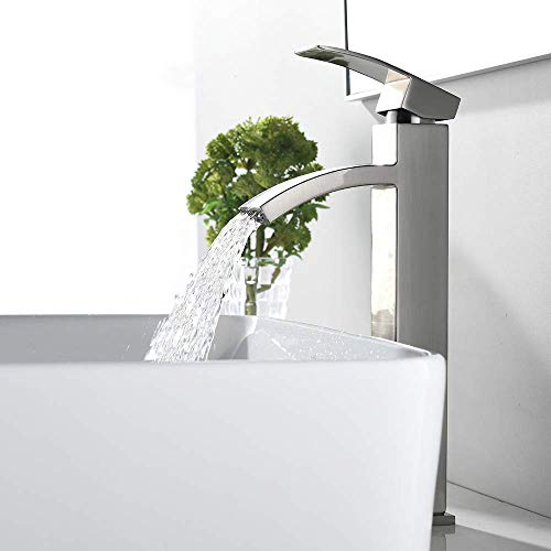 "VCCUCINE Modern Contemporary Brushed Nickel 12.52"" Tall Bathroom Vessel Sink Faucet, Single Handle Stainless Steel Sink Faucet"