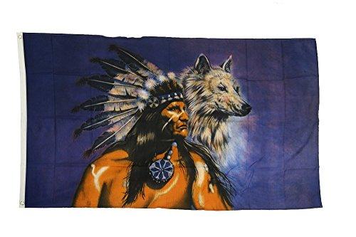 Flaggenfritze Fahne/Flagge Indianer Wolf + gratis Sticker