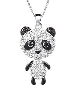 "Neoglory Jewelry Platinum Plated Long Panda Pendant Necklace Fully Studded with Rhinestones 30"""