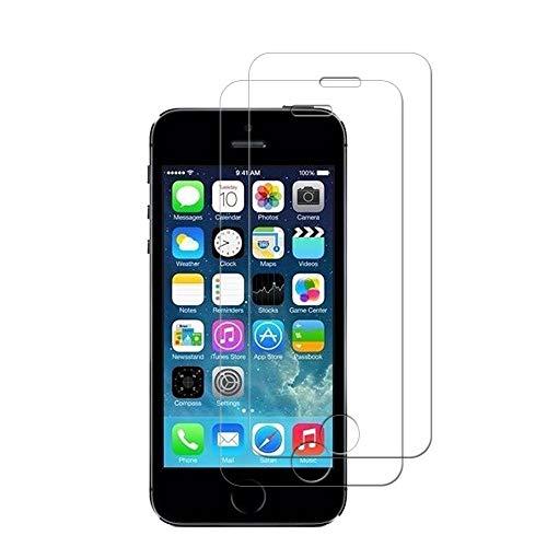 HongMan [2 Pack] Protector de Pantalla para iPhone 5s / 5 / SE / 5C Cristal Templado, 9H Dureza, Sin Burbujas, Alta Definicion, Resistente a Arañazos Vidrio Templado Screen Protector