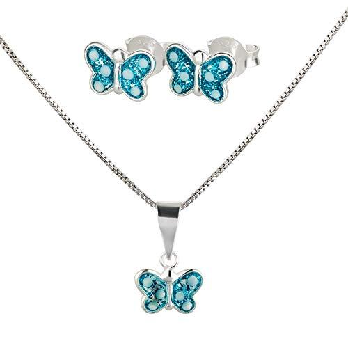 FIVE-D Set Kette Anhänger Ohrringe Kleiner Schmetterling mit Punkten 925 Sterling Silber (Blau)