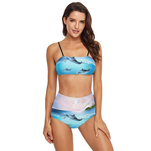 Lustiger Bikini mit süßem Delfin, zweiteilig, Badeanzug, Badeanzug, Badeanzug, Badeanzug, für Damen, Teenager und Mädchen Gr. M, mehrfarbig